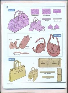 simple sewing patterns for bags. this page has a whole slew of these visual pattern designs. by Nina Maltese Easy Sewing Patterns, Purse Patterns, Sewing Tutorials, Sewing Projects, Diy Purse, Fabric Bags, Sew Bags, Handmade Bags, Leather Craft