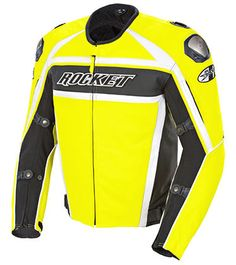 JOE ROCKET SPEEDMASTER RADIO ACTIVE YELLOW LEATHER MOTORCYCLE JACKET