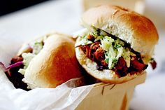 Slow-Cooker Cherry Chipotle Pulled Pork with Cilantro Lime Slaw. This delicious sweet and spicy pulled pork is fall-apart tender. The combination of sweet cherries and dark brown sugar blended with earthy and spicy chipotle peppers bring this recipe to a new mouthwatering level.