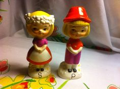 Rare Flower Boy and Girl Vintage Salt and Pepper Shakers
