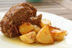 Γεμιστό ρολό στο φούρνο με πατάτες