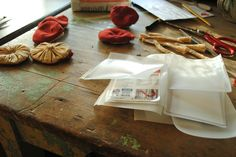 Using recycled materials for fabric mushroom hanging ornaments by Willowynn textile art