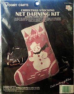 Snowman Stocking Net Darning Kit Christmas Holiday 12x14 Vogart Crafts NEW 2946 #VogartCrafts