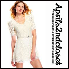 "❗️1-HOUR SALE❗️DRESS Eyelet Lace A Line Summer NEW WITH TAGS RETAIL PRICE: $128   A Line Eyelet floral Lace Overlay Dress   * Beautiful lightweight crochet lace overlay fabric; A Line silhouette   * Short sleeves, subtle V-neckline, &'hidden back zipper   * Optional belted waist for the perfect fit; Lined   * About 32.5"" long; Stretch-to-fit style   Fabric: Cotton-Polyester   Color: Ivory # Pastel Item:95200 shirt dress No Trades ✅Offers Considered*/Bundle Discounts✅  *Please use the 'offer'…"