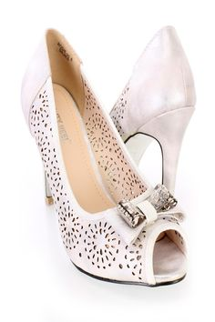 These sexy single sole pump heels feature a faux leather upper with a perforated design throughout, peep toe, scoop vamp, bow tie accent with a metal detail, smooth lining, and cushioned footbed. Approximately 4 inch heels.http://www.amiclubwear.com/shoes.html