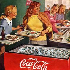 Detail Of Coca-Cola Lunch Refreshed Have A Coke - Mad Men Art: The Vintage Advertisement Art Collection Coca Cola Poster, Coca Cola Drink, Coca Cola Ad, World Of Coca Cola, Coca Cola Bottles, Coke Ad, Vintage Coke, Vintage Signs, Old Advertisements