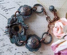 Aqua Green Copper Brass Etched Bracelet Eye & by MockiDesigns, $72.00