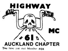 Gangscene calling card for the Highway Motorcycle Gang Auckland Chapter New Zealand during the Bike Gang, Ten Year Anniversary, Head Hunter, Biker Clubs, National Convention, Calling Cards, Bad News, The Good Old Days, Old And New