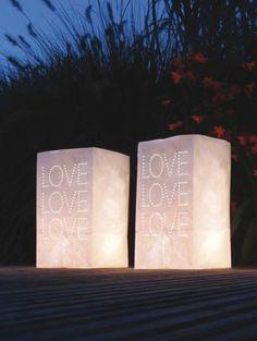 Candle bags 'love' (5 stuks) € 3,95 - verkrijgbaar via weddingdeco.nl  ELLE