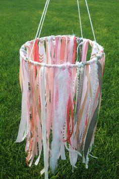 Pink & White Ribbon Mobile for Girl Nursery, Wedding, Baby or Bridal Shower Decor