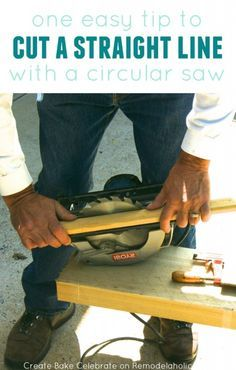 Woodworking 101 How to Cut a Straight Line with a Circular Saw - no table saw required Easy Woodworking Projects, Woodworking Techniques, Woodworking Shop, Wood Projects, Woodworking Plans, Best Circular Saw, Penny Tile, Shops, Wood Tools
