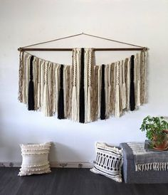 This is a MADE TO ORDER hanging. Please allow up to 4 weeks for completion.   This yarn hanging is full of twists, macramé, tassels and braids. It would look great above a bed, sofa or any large wall space. Many yarn strands are used to create this piece. Its full of depth and texture. At 6 feet Large Macrame Wall Hanging, Yarn Wall Hanging, Wall Hangings, Bed Sofa, Jute Twine, All Wall, Wall Spaces, Large Wall Art, Wooden Beads