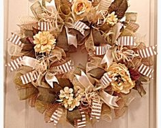 Beautiful Vintage Floral Cream, Moss and Burlap Deco Mesh Wreath/Mothers Day Wreath/Spring and Summer Wreath/Floral Wreath