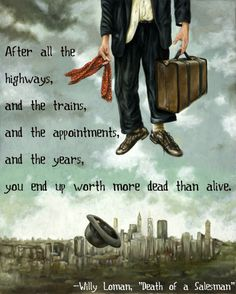 Death of a Salesman quote over great artwork by Zak Pullen. Writers And Poets, Writers Write, Smart Quotes, Funny Quotes, Sayings And Phrases, American Literature, Smart People, Famous Quotes, Book Quotes