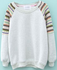 Light Grey Contrast Striped Knit Long Sleeve Sweatshirt EUR€22.66