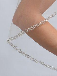 1-Layer, Delicate Pearl Crystal Beaded Edge Bridal Veil, Wedding Veils   USABride
