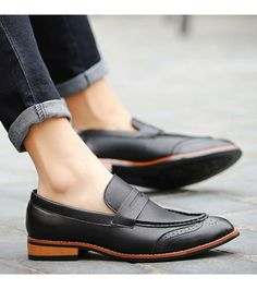 Men's #black leather #DressShoe urban Brogue, Slip on style, Point toe design, casual, work office occasions.