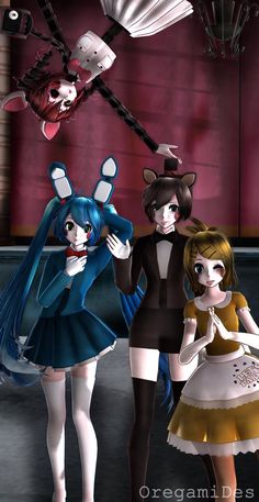 Mangle, Toy Chica, Toy Freddy y Toy Bonnie
