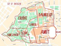 The city has now been separated into 5 factions. Erudite, Amity, Candor, Abnegation, and Dauntless.