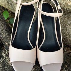 """Zara Nude Pink Wedges Beautiful gently used Zara Pink Wedges with Black Suede Look. Peep Toe, with Ankle Strap. 5.5"""" wedge heel Zara Shoes"""