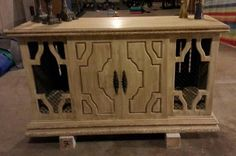 Cream with antique glaze Repurposed Retro Stereo Table into a Credenza *3s a Charm Wood Decor on Facebook