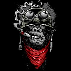 Ape of Duty - Gorilla Warfare Shirt. Funny and totally awesome artwork of a gorilla soldier smoking a cigar. Gorilla Tattoo, Graffiti Art, Arte Dope, Dope Art, Comic Kunst, Comic Art, Dope Kunst, Monkey Art, Illustration