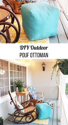 How to Make an Outdoor Pouf Ottoman. Learn how to sew a square pouf ottoman in the fabric of your choice. Can be used indoors or outside. #fairfieldworldpatioparty