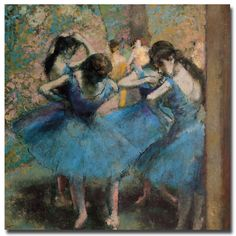 This ready to hang, gallery-wrapped art piece features dances in blue dresses. Through his work crossed many stylistic boundaries. Edgar Degas' involvement with the other major figures of Impressionis