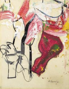 Accabonac, oil and charcoal on vellum laid down on cardboard , by Willem de Kooning