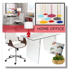 """""""Home Office with Lamps plus- 11"""" by groove-muffin ❤ liked on Polyvore featuring interior, interiors, interior design, home, home decor, interior decorating, home office, modern, office and colorblock"""