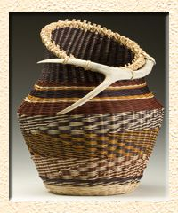 "Jill Choate is a nationally renowned fiber artist and instructor known for her ability to ""talk to the antler"" and weave a vessel around it. 