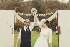 """""""Let's Grow Old Together"""" Retro Handmade Melbourne Wedding #wedding // love it. the sign, the retro, the handmade..."""