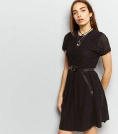 Black Cut Out Short Sleeve Short Sleeve Skater Dress