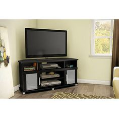 South Shore City Life Corner TV Stand, for TVs up to 50 inch Multiple Finishes, Black Black Corner Tv Stand, Frosted Glass Door, Glass Doors, Les Accents, Metal Accents, Old Tv Stands, Diy Tv Stand, Tv In Bedroom, Open Shelving