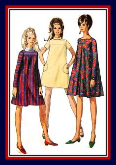 Vintage 1967- DARLING MOD Trapeze Dress -Three Styles -Sewing Pattern -Squuare Neckline -Inverted Pleats- A- Line -Mini Length- Size 16-Rare