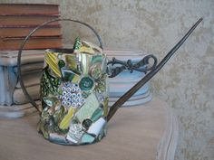 How Does Your Garden Grow Brass Mosaic Water Can in Greens with Vintage Brooch Mosaic Art
