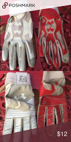 READ DESCRIPTION Under Armour Batting Gloves Right handed batting gloves. White used a couple times only size large adult, red used a season size large youth would fit adult small. White $8 Red $6 or both for $12 Under Armour Accessories Mittens