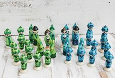 Vintage CHESS Set Hand Painted Wood Turquoise Green.