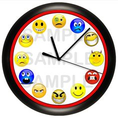 Emoji's Wall Clock Emoticons Funny Faces Smiley Smile Gag Gift Fun