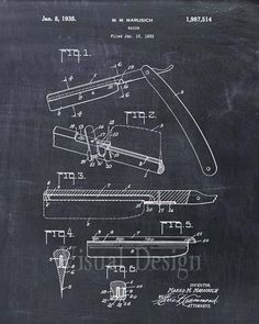 Patent Print of a Straight Razor Patent Art Print Patent Poster Barber Barbershop Barber Gift Chalkboard Decor, Chalkboard Print, Barber Gifts, Ale, Barber Shop Decor, Art And Hobby, Patent Drawing, Photo Wall Art, Straight Razor