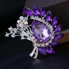 >> Click to Buy << 2 colors available big crystal flower brooches for women pink/purple color for choose silver plated wedding accessories gift #Affiliate