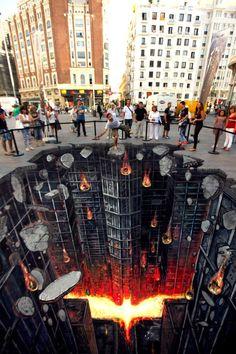 The Dark Knight Rises as 3D Street Art in Madrid