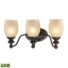 Park Ridge 3 Light LED Vanity In Oil Rubbed Bronze And Reeded Glass 11652/3-LED