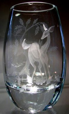 Doe in Fall* Hand Engraved Crystal Vase by Catherine Miller of Catherine Miller Designs. Technique stone wheels.