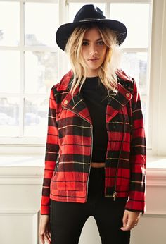 Cozy up in this tartan moto jacket all winter long.