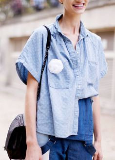 The ultimate half-tuck (into overalls) #Blue #StreetStyle