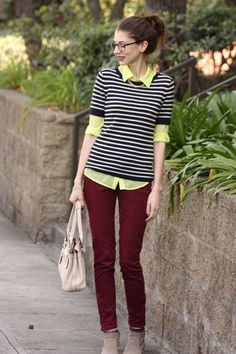 Nerd Chic: Burgundy + Neon + Stripes.  #stripes #burgundy #yellow #nerdglasses