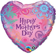 """18"""" Mothers Day foil balloon Mothers Day Balloons, Foil Balloons, Table Centerpieces, Happy Mothers Day, Seasons, Filigree, Holiday, Heart"""