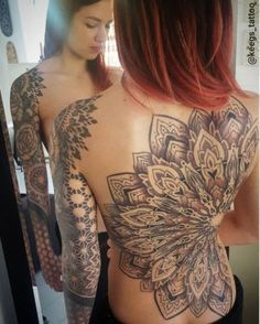 Mandala Back & Sleeve Tattoo #ad