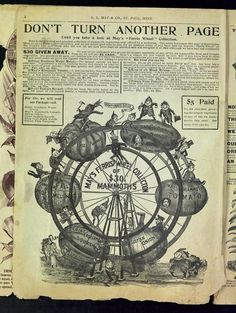 """A clever page in the 1894 L.L. May catalog features the new """"Ferris Wheel Collection"""" of mammoth vegetables.  The Ferris Wheel had been introduced the previous year at the Chicago World's Fair. The wheel here features elfin brownies riding in cars made of the mammoth veggies.  Brownies had been popularized in a series of children's books by P. Cox. Copies of many catalogs from L.L. May & Co., a grower of hardy northern seeds, are located in the University of MN Andersen Horticultural…"""